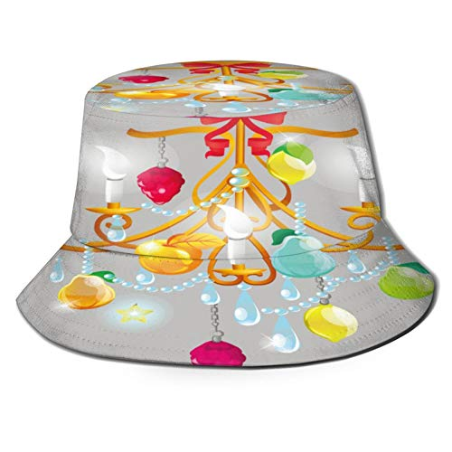 RUEMAT Fischerhut,Elektrischer Kronleuchter Golden Frame Glass,Unisex Sonnenhut Bucket Hat Anglerhut Fishermütze Outdoor Faltbar Cap