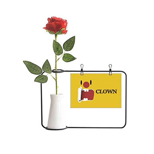 OFFbb-USA Divertido amarillo payaso emoción risa artificial rosa flor colgante jarrones decoración botella