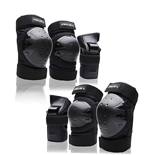Protective Gear Set forYouth/Adult Knee Pads Elbow Pads Wrist Guards for Skateboarding Roller Skating Inline Skate Cycling Bike BMX Bicycle Scootering 6pcs (Black, X-Large)