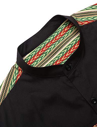 COOFANDY Men's African Dashiki Print Shirt Long Sleeve Button Down Shirt Bright Color Tribal Top Shirt