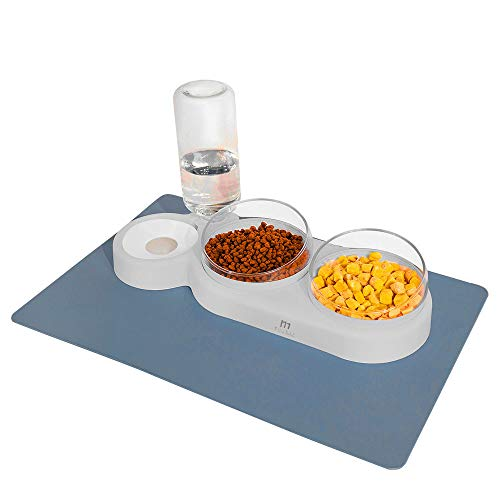 Marchul - Set di ciotole per alimenti a gravità con acqua e doppia vasca, con tappetino per ciotola, set di ciotole per alimenti asciutti e bagnati, colore: grigio