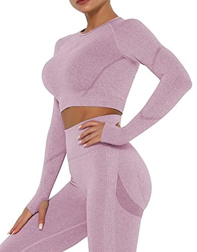 Qric Camiseta deportiva de manga larga para mujer, camiseta de compresión, ropa deportiva para yoga, gimnasio, leggings