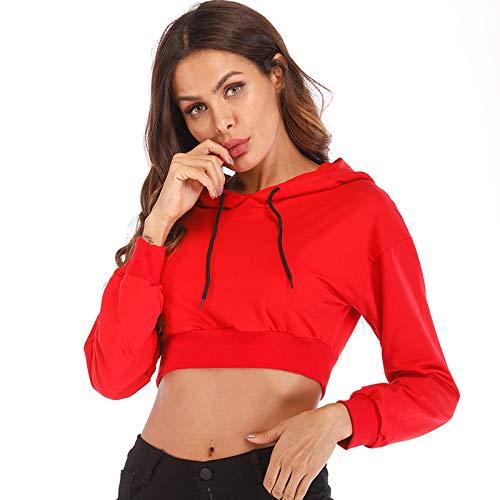 JJK Les Femmes Sweat à Capuche Manteaux Pull ombilical Manches Longues Vogue Sweatshirt,Red,L