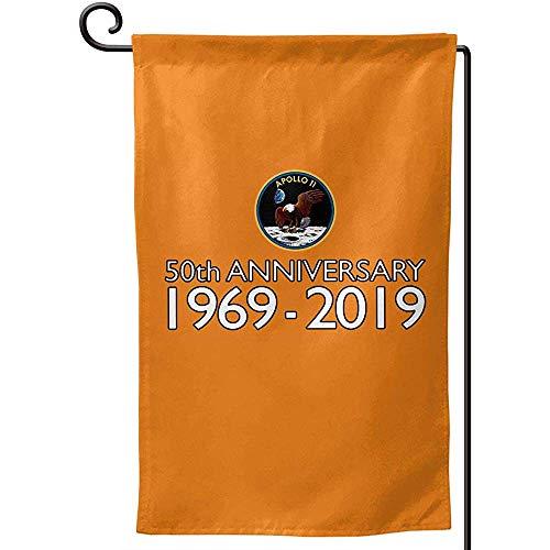 N/A Apollo 11 Mondlandung 50. Garten Flagge Doppelseitig, Urlaub Im Freien Dekorative Kleine Flaggen Hof Rasen Terrasse 12,5 * 18 in