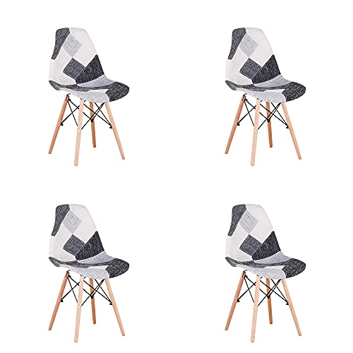 VERDELZ Living Room Chairs/Dining Chairs/Desk Chairs/Office Chairs/Leisure Chairs/Natural Beech Chairs with ABS backrest, a Set of 4, Black-White