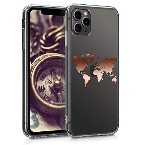 kwmobile Hülle kompatibel mit Apple iPhone 11 Pro Max - Handyhülle - Handy Case Travel Umriss Rosegold Transparent