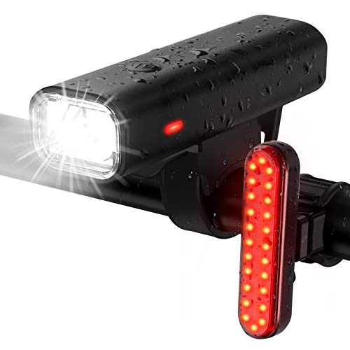 Balhvit 400 Lumen Bike Lights Set 9H Runtime Bike Lights Front and Back USB Rechargeable LED Mountain Bicycle Light IPX5 Waterproof Road Cycling Lights Headlight With 46 Modes