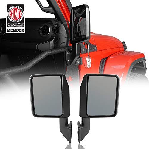 Hooke Road Wrangler Mirrors for Half Doors Compatible with Jeep Wrangler TJ JK JL 97-21   Gladiator JT - 1 Pair, Textured Black