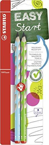 Ergonomischer Dreikant-Bleistift für Rechtshänder - STABILO EASYgraph in blau & grün - 2er Pack - Härtegrad B