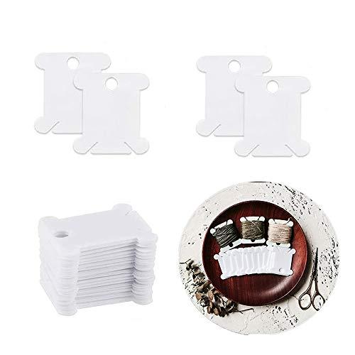 ZARRS Bobine di Filo,100 Pezzi Carte di Plastica Filato Porta-Carte Filo da Ricamo Organizer di Filo per Macchine da Cucire Bianco