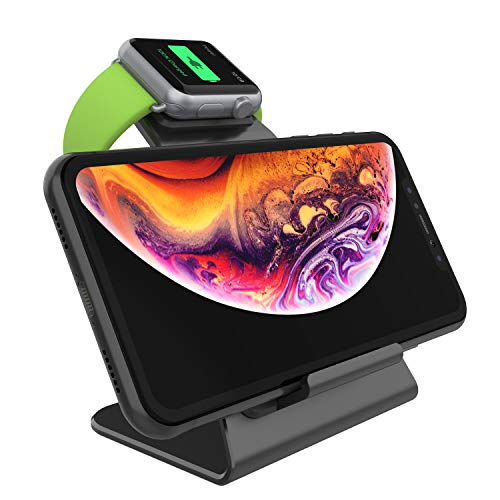 Punkcase Phone and Watch Charging Station | 2 in 1 Universal Fast Charging Wireless Desktop Stand Compatible W/Apple iPhone, iWatch, Samsung Galaxy Smartphones & Most Qi Enabled Devices (Black)