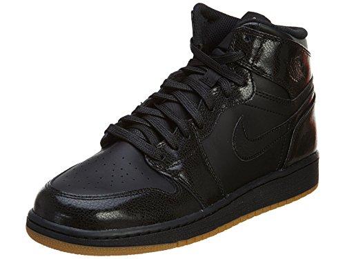 Nike Air Jordan 1 Retro High OG BG Basketballschuhe, Schwarz Braun schwarzKaugummi Hellbraun, 38 EU