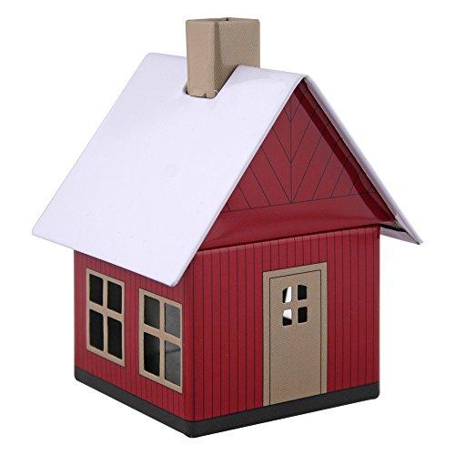 Crottendorfer Metall Häuser mit integriertem Räucherkerzenhalter Waldhaus, rot-braun