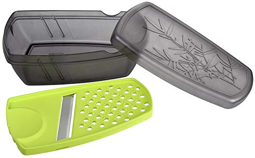 Fackelmann 45470 Ginger Grater, Slicer with Storage Container, Plastic, Grey and Green