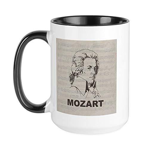 CafePress–Mozart–Kaffee Tasse, groß 15Oz Weiß Kaffee Tasse Large White/Black Inside
