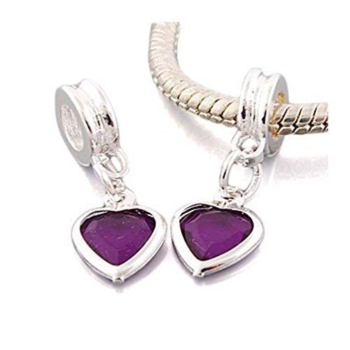 """Andante-Stones Bead Silver Dangle Bead """"Purpur Herz"""" elemento bola para European Beads + Organza bolsa"""