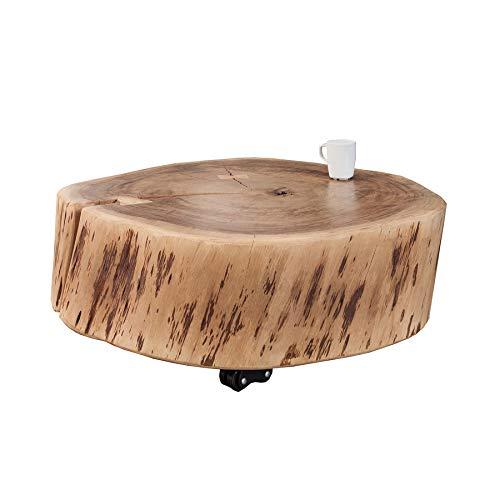 Invicta Interior Rustikaler Couchtisch GOA 65 cm Akazie Massivholz mit Rollen Unikat Holztisch Tisch Beistelltisch