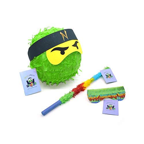 Nislai® Ninja Pinata Set | Ideal für die Ninja Party | Pinata Geschenk | Pinata Geburtstag | inkl. Stock & Augenmaske | Farbe zur Auswahl: grün, schwarz, blau, rot (grün)
