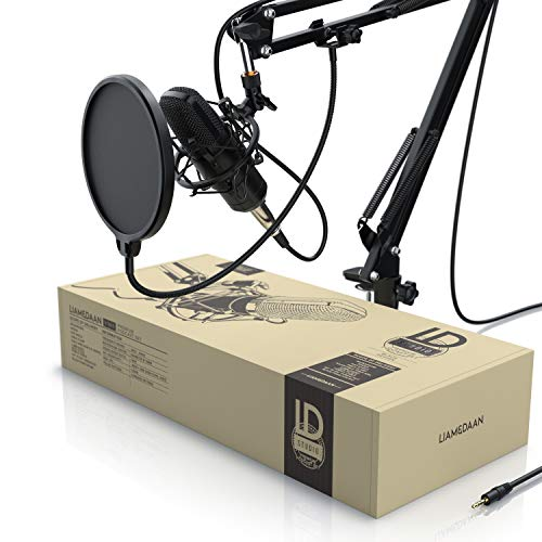CSL - Kondensatormikrofon XLR mit Mikrofonarm - Mikrofon Studiomikrofon Set - Großmembran Kondensator Microphone und Spinne - 3,5mm Klinke zu XLR Kabel - Modell 2020 - Podcast PC Streaming