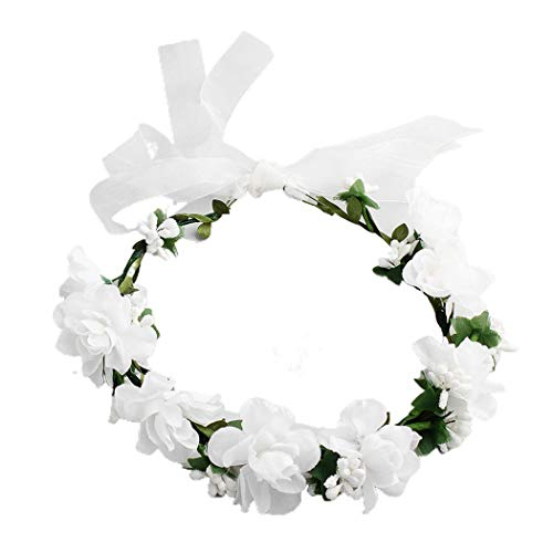 Edary Wedding Flower Hair Garland Floral Crown with Adjustable Ribbon Hair Wreath Flower Hair Accessories for Women and Girls(1PC)