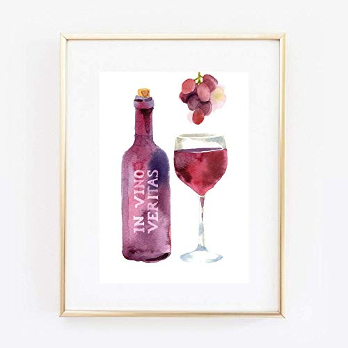 Din A4 Kunstdruck ungerahmt - Wein Rotwein - in vino veritas - Küche Esszimmer Genuss Aquarell Druck Poster Bild