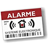 Decooo.be - Autocollants dissuasifs Alarme - Système électronique - Lot de 12 - Dimensions 7,4 x 5,2 cm