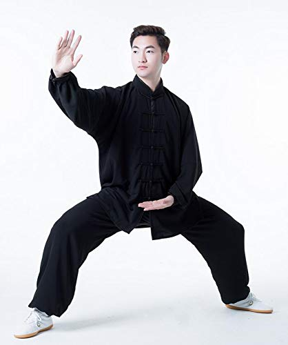 XLYAN Kung Fu Artes Marciales Tai Chi Trajes Chino Tradicional Qi Gong Taekwondo Ropa De Entrenamiento para Hombres Mujeres,Black-S