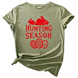 Judeyuan Camiseta de Pascua para Mujer, Tallas Grandes de Pascua de Manga Corta con Cuello en O de Impresión Blusa Informal Tops de Camiseta Ejército Verde XXXL 2021 Último