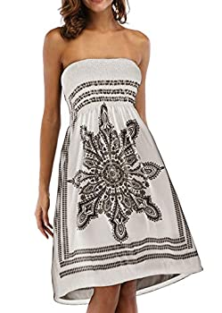 Zyyfly Beach Cover ups for Women Floral Print Bathing Suit Strapless Cover ups for Swimwear Beige