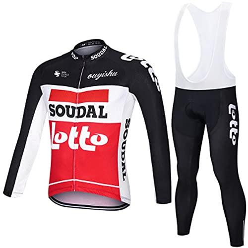 AJL Maglia da Ciclismo a Maniche Lunghe Autunno Inverno SOUDAL Lotto, Abbigliamento da Ciclismo per Mountain Bike Corsa su Strada, Abbigliamento Sportivo MTB Traspirante e ad Asciugatura Rapida