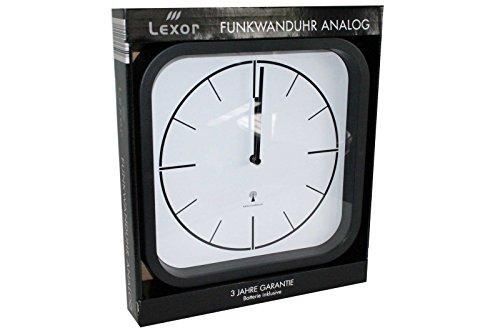 LEXOR Funkwanduhr Wanduhr Ananlog Funk 28 cm 4 Modelle zur Wahl (Modell FWUAN04 - Rahmen schwarz mit weißem Ziffernblatt 24x24, 24)