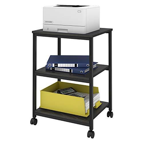 DEVAISE Mobile 3-Shelf Printer Cart Printer Stand on Wheels for Office Home Black