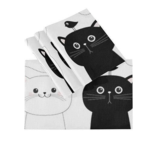 Juego de 4 manteles individuales, manteles individuales lavables con aislamiento térmico, juego de gato, cara de cabeza blanca y negra, 18 x 12 pulgadas, manteles individuales de cocina, mantel indiv