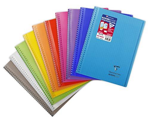 Clairefontaine 386401C - Un cahier à spirale Koverbook 160 pages 24x32 cm 90g grands carreaux, couverture polypro (plastique) enveloppante transparente couleur aléatoire