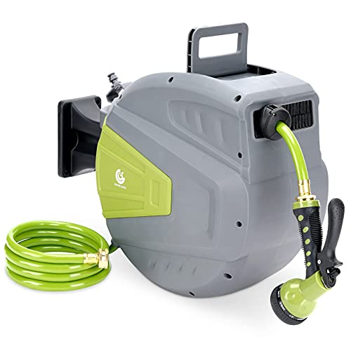 G GOOD GAIN Retractable Garden Hose Reel,9 Function Sprayer Gun with 5/8in,65+6 1/2 FT Hose, Wall Mounted Hose Reel Any Length Lock/180 Degree Pivot,Watering Solution for Backyard,Garden,Car Washing