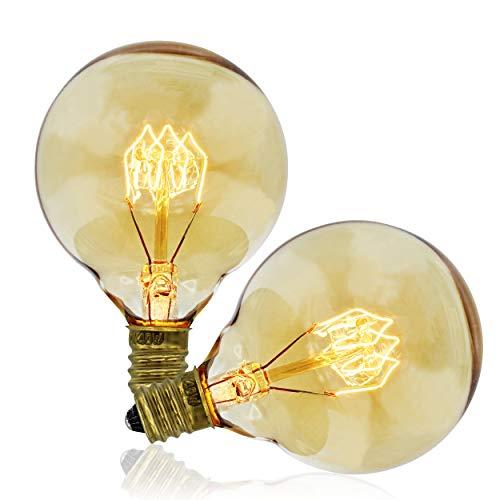 Vintage Edison Bulbs, G50 Globe, 40w, E12 Base (Small), 2-Pack