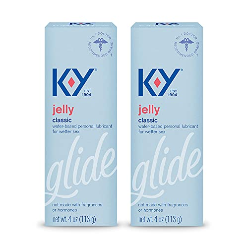 K-Y Jelly Lube, Personal Lubricant, Water-Based Formula, Safe to Use with Latex Condoms, For Men,...