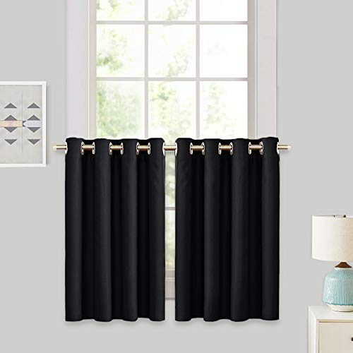 RYB HOME Half Window Kitchen Curtains Valances, Grommet Top Bedroom Blackout Window Treatment Tiers Short Curtains Energy Saving Drapes for Bedroom, 52 Width by 36 Length, Black, Set of 2