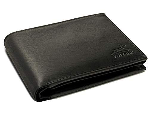 Fa.Volmer ® Schwarze Herren Ledergeldbörse aus echtem Leder Querformat #VO11 (Schwarz)