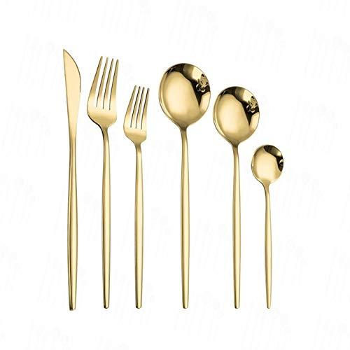 Conjunto de cubiertos de acero inoxidable de 6 piezas Cuchara de cubiertos negras Conjunto de cuchara de cena Cuchillo de cena Cuchara de cucharadita Cena Cena Dorado Vajilla Juego