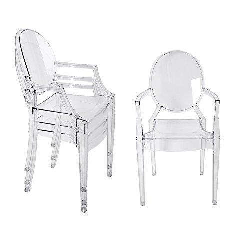 Panana, 4 sedie trasparenti in stile moderno, stile chic Starck