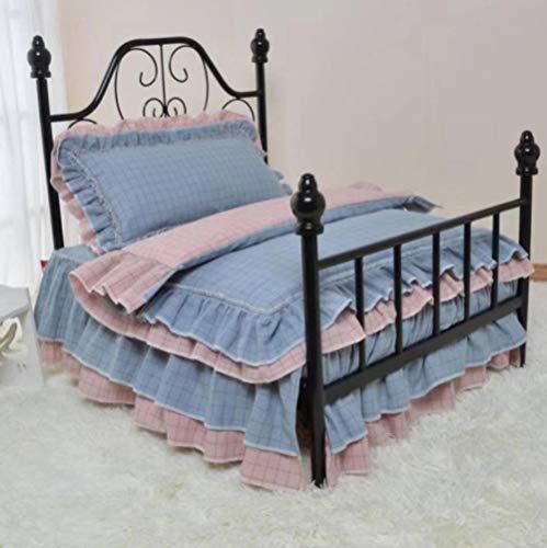 Hondenhok en Cathouseluxury Kennel Luxe smeedijzeren huisdierbed Art hondenbed met bed en beddengoed 75X50X75Cm