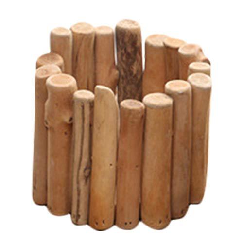 Maceta de madera para suculentos, maceta para macetas de madera, moderna y redonda, para plantas en miniatura, con estilo, ideal para casa y vivienda