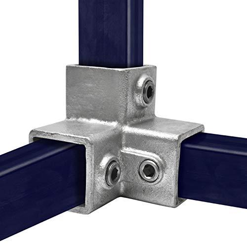 KLEMP Conector de tubo cuadrado de tres vías 90 ° Tubo cuadrado de 40x40 mm Hierro fundido maleable Tipo 18S-40x40 mm
