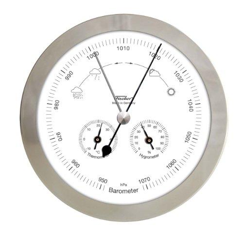 Fischer 1602-01 Wetterstation für Innen und Außen, Barometer-Thermometer-Hygrometer, Edelstahlgehäuse, ø 160 mm