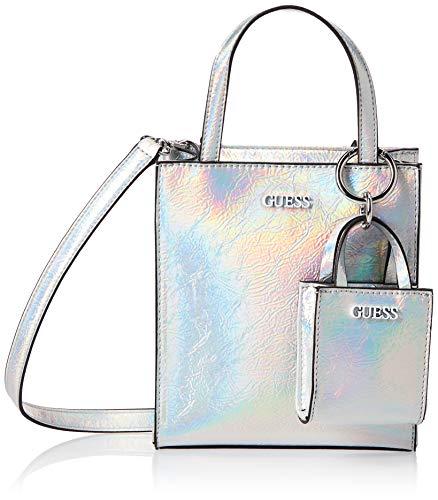 Guess Mini Shopper Picnic Iridescent Silver - Carrito de la compra, color plateado
