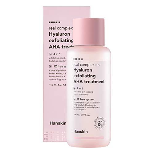 Hanskin Real Complexion Hyaluron Exfoliating AHA Treatment, Exfoliating Toner, Hydrating Skin Booster [150ml]