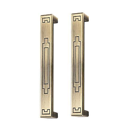 Juego de 2 tiradores de puerta de armario de estilo vintage, estilo retro, para cocina, armario, armario, armario, tiradores de aleación de zinc para muebles – 6707-128-bronce