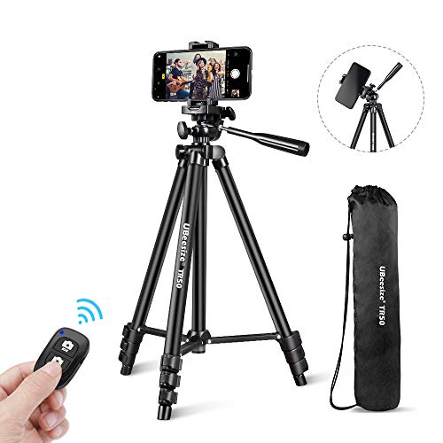 UBeesize Phone Tripod, 51' Adjustable Travel Video Tripod Stand with Cell Phone Mount Holder & Smartphone Bluetooth Remote, Compatible with iPhone/Android (Black)
