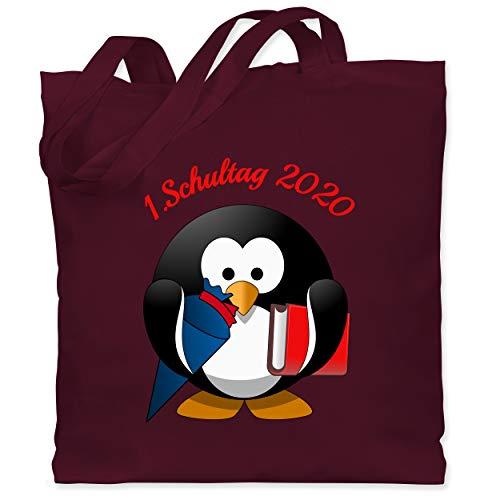 Shirtracer Einschulung und Schulanfang - 1. Schultag 2020 Pinguin Schultüte Buch - Unisize - Bordeauxrot - 1. schultag - WM101 - Stoffbeutel aus Baumwolle Jutebeutel lange Henkel